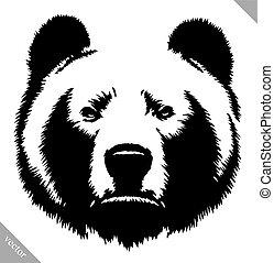 empate, ilustración, vector, oso negro, tinta, blanco