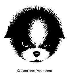 empate, lineal, perro, ilustración, pintura, negro, blanco