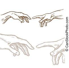 empate, mano, creación, adán
