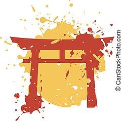 empate, puerta, japón, torii, arte