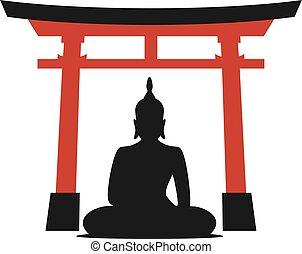 empate, puerta, torii, budha