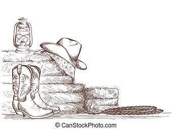 empate, vaquero, oeste, ranch., botas, mano, occidental,...