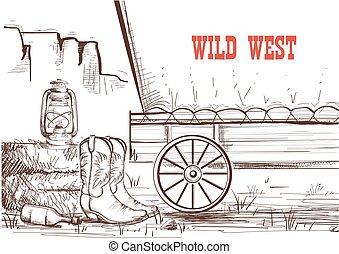 empate, wagon., vaquero, oeste, botas, mano, occidental, plano de fondo, salvaje