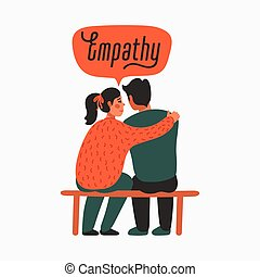 Empathy. Empathy and Compassion concept - young woman comforting sad man. Helping hand or psychological care. Vector illustration in flat cartoon style on white background.