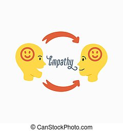 Empathy. Empathy and exchange of emotions concept - silhouettes of two human heads with an abstract image of emotions inside. Vector illustration in flat cartoon style on white background