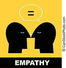 empathy icon - simple flat icon of two human heads...