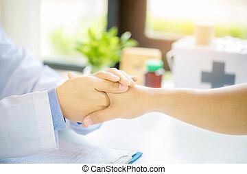empathy., incoraggiamento, fiducia, associazione, sostegno, lessening, presa a terra, amichevole, paziente, mano, mani, notizie, etica, uomo, support., medico, paziente, applauso, cattivo, dottore, maschio, concept.
