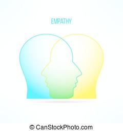 empatia, compassione, concept., compassionevole, emozioni, sentimenti, persona, empathic, icon., design.