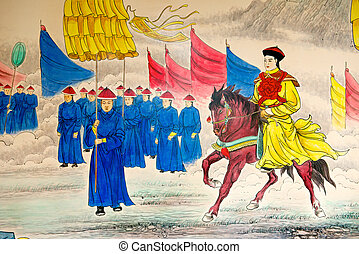 emperador, pintura, chino