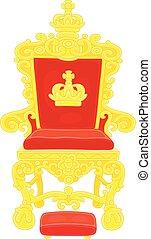 emperador, trono, dorado