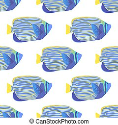 Emperor angelfish seamless pattern. Pomacanthus imperator...
