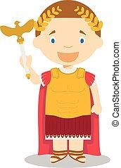 Emperor Augustus cartoon character. Vector Illustration.