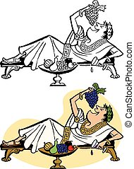 A Roman emperor relaxes on a chaise and feeds himself grapes.