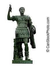 Bronze statue of emperor Hadrian in the Giardini di Castel Sant'Angelo, Rome, Italy
