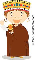 Emperor Justinian I cartoon character. Vector Illustration.