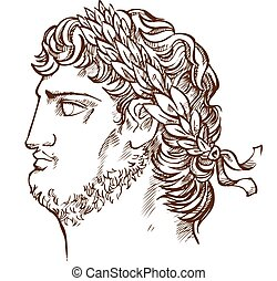 emperor Nero, vintage illustration drawing