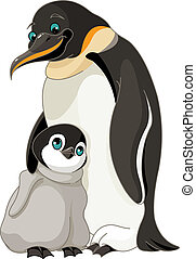 An adult Emperor Penguin with its chick
