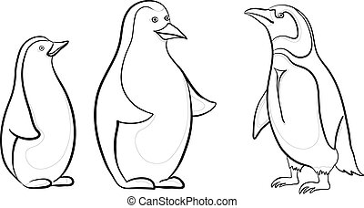 Antarctic emperor penguins, black contours on white background. Vector