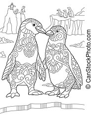 Coloring page of emperor penguins couple kissing each other. Freehand sketch drawing for adult antistress colouring book with zentangle elements.