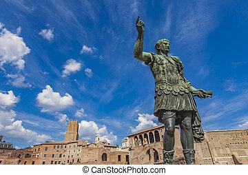 Emperor Trajan statue, in front of the Trajan's Markets....