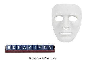 empfängnis, mögen, masken, menschliche , weißes, verhalten