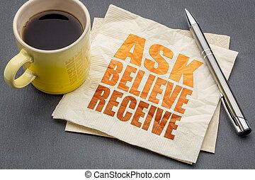 empfangen, glauben, begriff, fragen, serviette