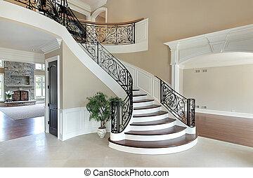 empfangshalle, treppenaufgang, großartig