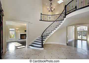 empfangshalle, treppenaufgang, kreisförmig
