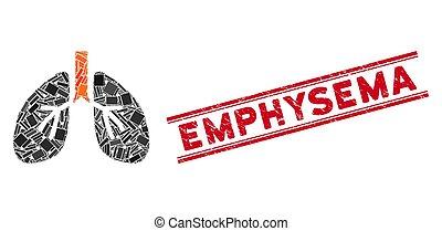 emphysème, gratté, mosaïque, timbre, poumons, cachet, lignes