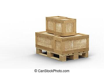 empilé, boîte, directement, transport, bois, différent, taille, palette