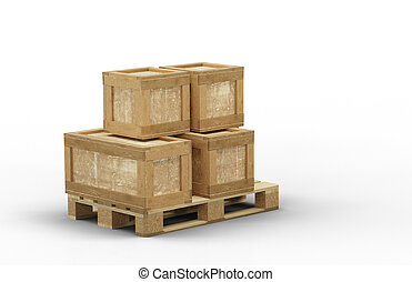 empilé, boîte, directement, transport, bois, taille, différent, palette