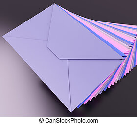empilé, boîte lettres, e-mail, inbox, enveloppes, message, spectacles