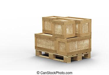 empilé, boîte, transport, bois, différent, taille, palette