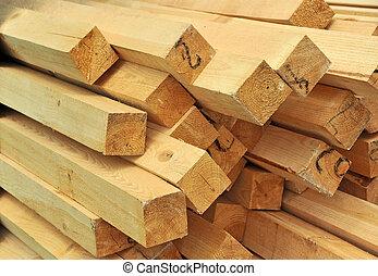 empilé, bois, site, construction, faisceau, frais