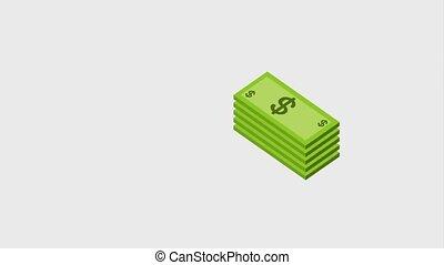 empilé, dollar, billet banque, banque, monnaie