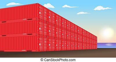 empilé, fret, vecteur, dock., port mer, récipients, illustration.