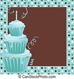 empilé, petits gâteaux, 1er, fêtede l'anniversaire