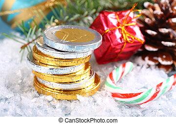 empilé, pièces, composition, chocolat, noël, euro