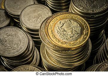 empilé, pièces, peso mexicain