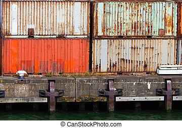 empilé, port, récipients