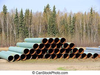 empilé, tas, de, tuyau, dans, une, industriel, yard