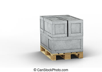 empilé, transport, directement, boîtes, bois, palette, métal