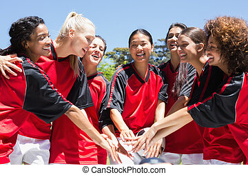 empilement, équipe, mains, football, femme