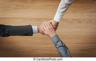 empilement, affaires gens, mains