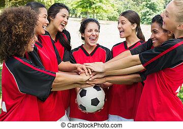 empilement, excité, équipe, mains, boule football