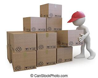empilement, garçon, boîtes, carton, stockage