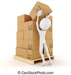 empilement, quelques-uns, 3d, boîtes, carton, homme