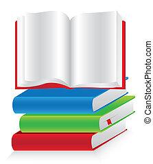 empilhado, livros, abertos, um