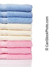 empilhado, toalhas, multicolored