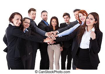 empilhando, comércio pessoas, mãos